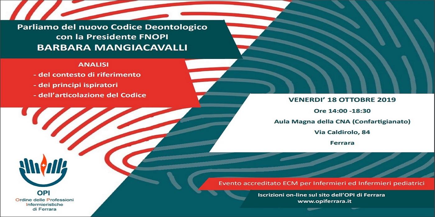 Locandina - Venerdì 18 ottobre 2019 conferenza sul Nuovo Ordine Deontologico